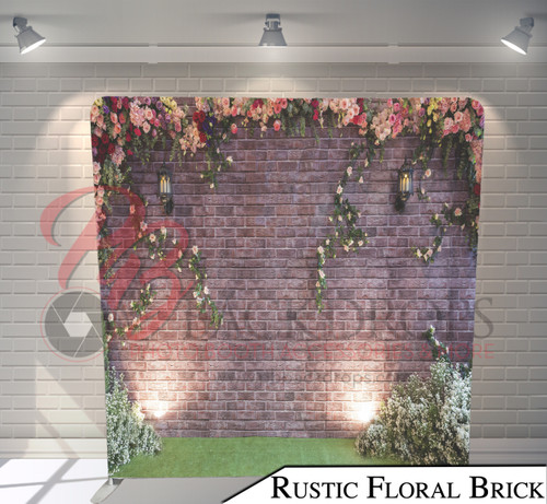 Single-sided Pillow Cover Backdrop  (Rustic Floral Brick)