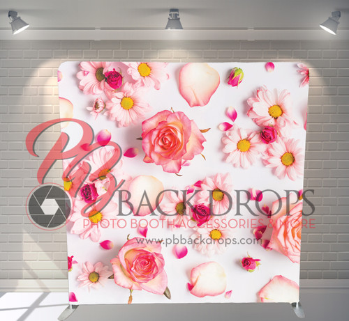 Single-sided Pillow Cover Backdrop  (Pretty Pink Flowers)