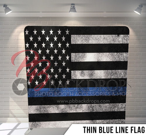 Single-sided Pillow Cover Backdrop  (Thin Blue Line Flag)