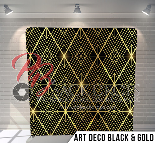 Single-sided Pillow Cover Backdrop  (Art Deco Black-Gold)