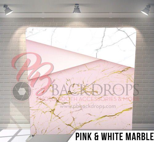 Single-sided Pillow Cover Backdrop  (Pink and White Marble)