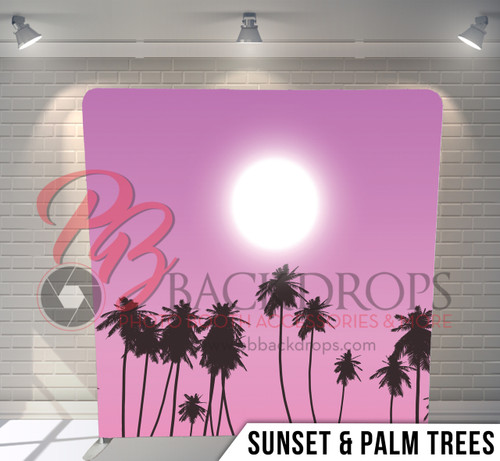 Single-sided Pillow Cover Backdrop  (Sunset Palm Trees)