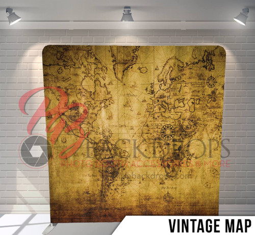 Single-sided Pillow Cover Backdrop  (Vintage Map)