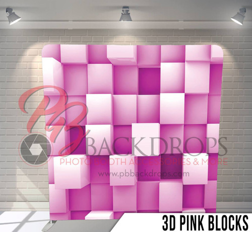 Single-sided Pillow Cover Backdrop  (3d Pink Blocks)