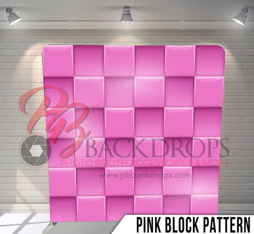 Single-sided Pillow Cover Backdrop  (Pink Block Pattern)