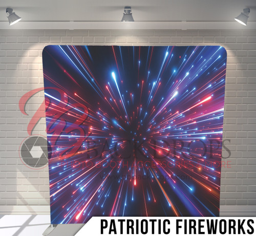 Single-sided Pillow Cover Backdrop  (Patriotic Fireworks)