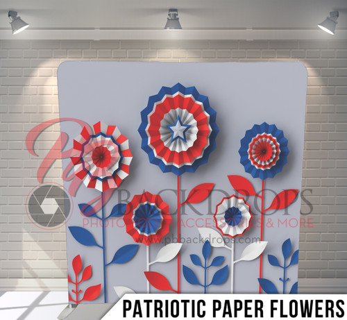 Single-sided Pillow Cover Backdrop  (Patriotic Paper Flowers)