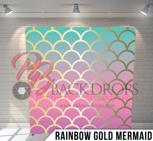 Single-sided Pillow Cover Backdrop  (Rainbow Gold Mermaid)