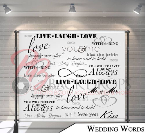8x8 Printed Tension fabric backdrop (Wedding Words)
