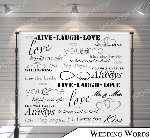 8x8 Printed Tension fabric backdrop (Wedding Words)