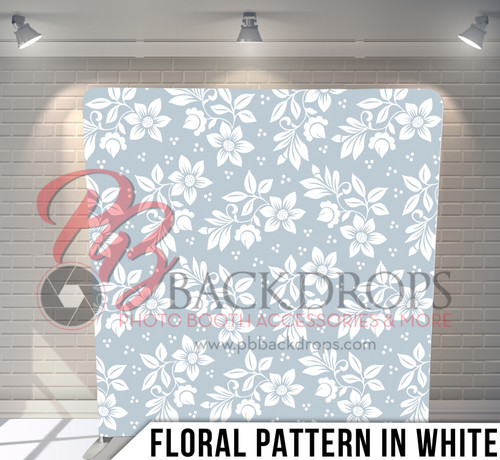 Single-sided Pillow Cover Backdrop  (Floral Pattern in White)