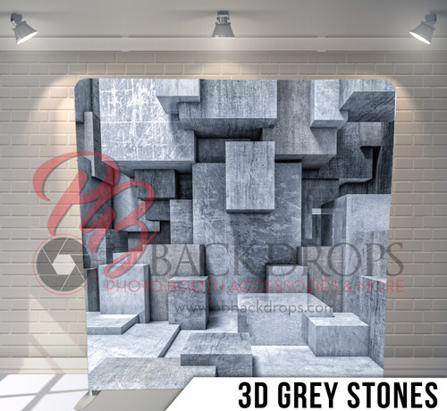 Single-sided Pillow Cover Backdrop  (3D Grey Stones)