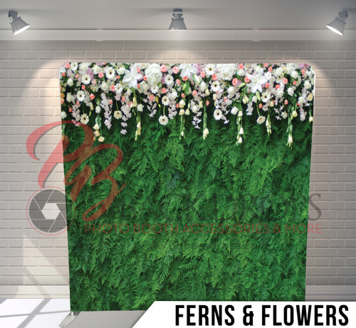 Single-sided Pillow Cover Backdrop  (Ferns and Flowers)