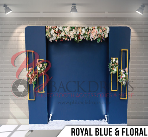 Single-sided Pillow Cover Backdrop  (Royal Blue & Floral)