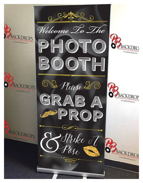 Black and Gold Photo Booth Retractable Banner