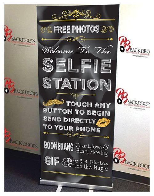 Black and Gold Selfie Station Retractable Banner