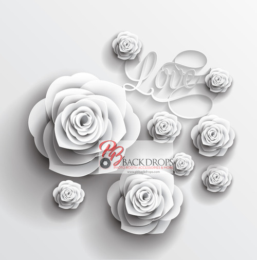 8x8 Printed Tension fabric backdrop - White Roses | PB Backdrops