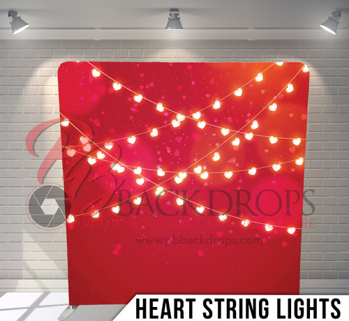 Single-sided Pillow Cover Backdrop  (Heart String Lights)