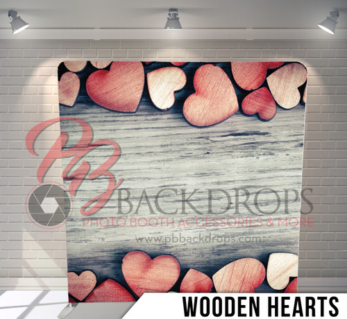 Single-sided Pillow Cover Backdrop  (Wooden Hearts)