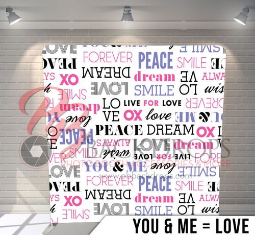 Single-sided Pillow Cover Backdrop  (You and Me = Love)