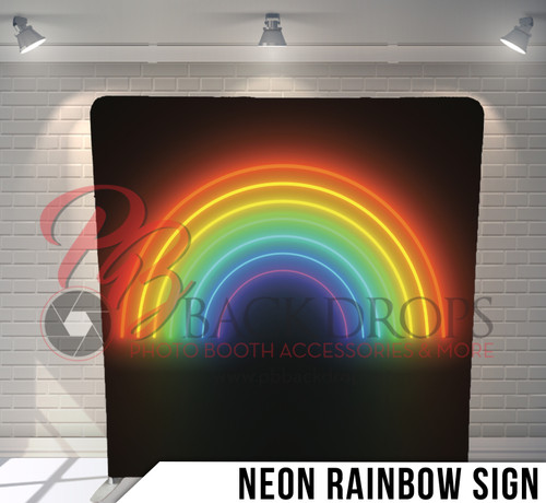 Single-sided Pillow Cover Backdrop  (Neon Rainbow Sign)
