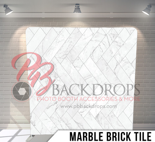 Single-sided Pillow Cover Backdrop  (Marble Brick Tile)