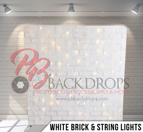 Single-sided Pillow Cover Backdrop  (White Brick and String Lights)