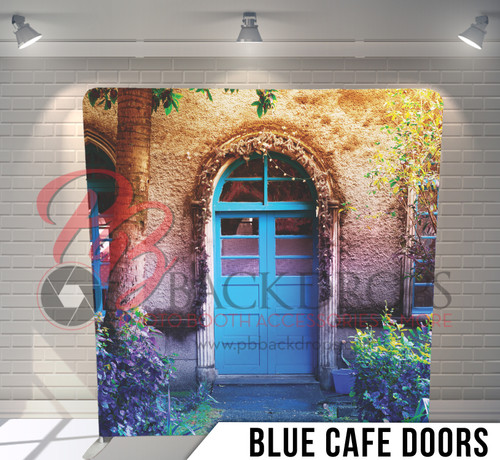Copy of Single-sided Pillow Cover Backdrop  (Blue Cafe Doors)