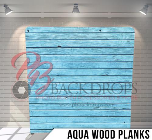 Single-sided Pillow Cover Backdrop  (Aqua Wood Planks)