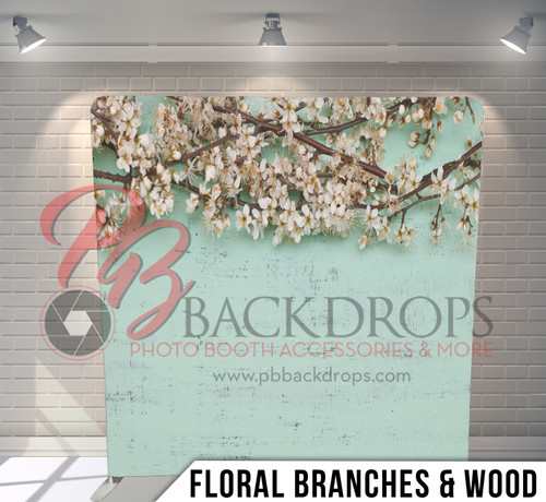 Single-sided Pillow Cover Backdrop  (Floral Branches and Wood)