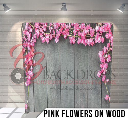 Single-sided Pillow Cover Backdrop  (Pink Flowers on Wood)