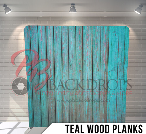 Single-sided Pillow Cover Backdrop  (Teal Wood Planks)