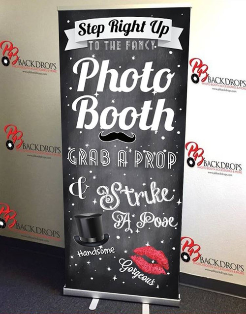 Step Right Up PHOTO BOOTH RETRACTABLE BANNER (Black Version)