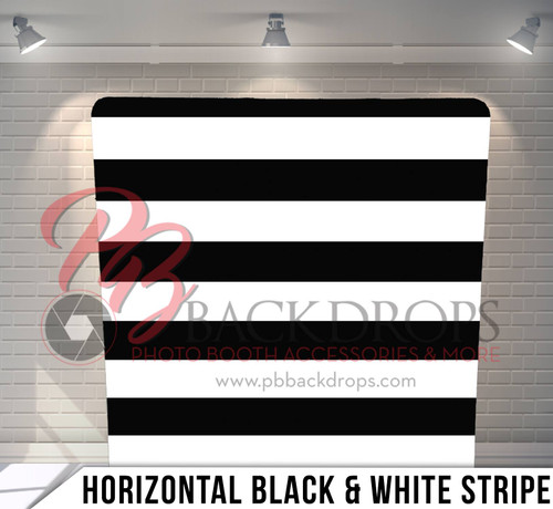 Single-sided Pillow Cover Backdrop  (Horizontal Black and White Stripes)
