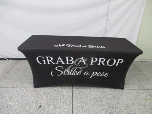 6ft Spandex Fabric Table Cover with Zipper in back (All black with white lettering)