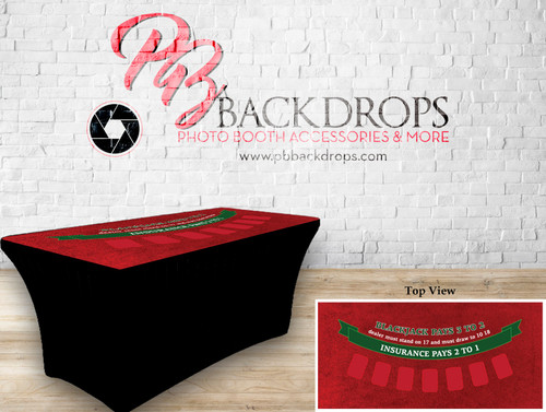 6ft Spandex Fabric Table Cover with Zipper in back (Black Jack -red top with black bottom)