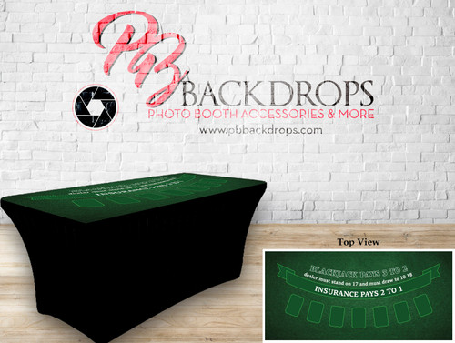 6ft Spandex Fabric Table Cover with Zipper in back (Black Jack -Green top with black bottom)