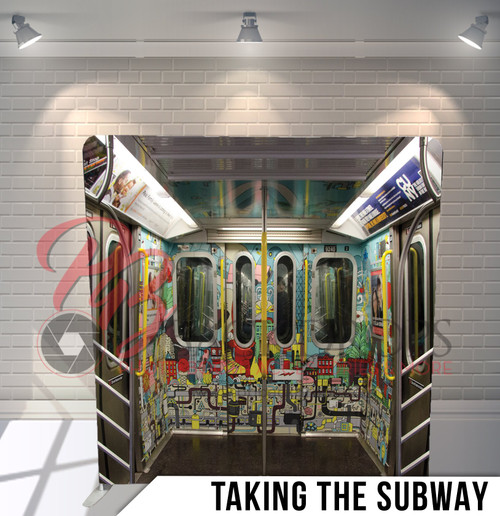 Single-sided Pillow Cover Backdrop  (Taking The Subway)