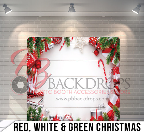 Single-sided Pillow Cover Backdrop  (Red White and Green Christmas)