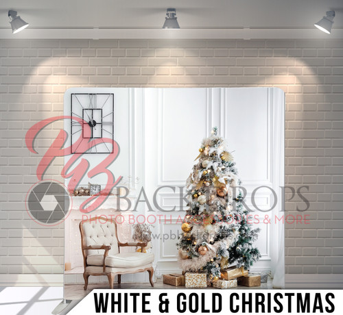 Single-sided Pillow Cover Backdrop  (White and Gold Christmas)
