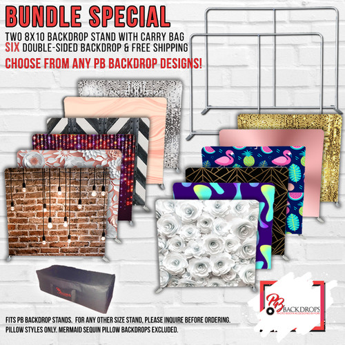 10x8 SUPER DUPER AMAZING GIANT BUNDLE -  2 Pillow Cover Stands and 6 Double Sided Backdrop Bundle w/Free Shipping and Oversized Bases