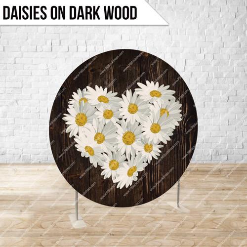 Circle Display 7ft. (Daises on Dark Wood) Single side