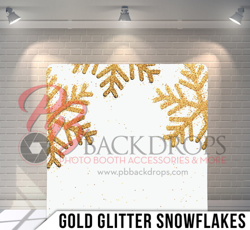 Single-sided Pillow Cover Backdrop  (Gold Glitter Snowflakes)