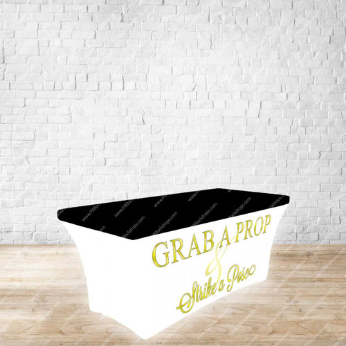6ft Spandex Fabric Table Cover with Zipper in back (Grab a Prop Gold Letters with Black Top)