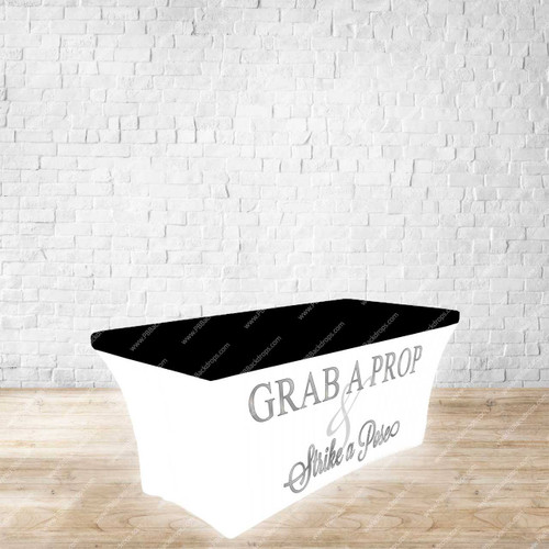 6ft Spandex Fabric Table Cover with Zipper in back (Grab a Prop Silver Letters with Black Top)