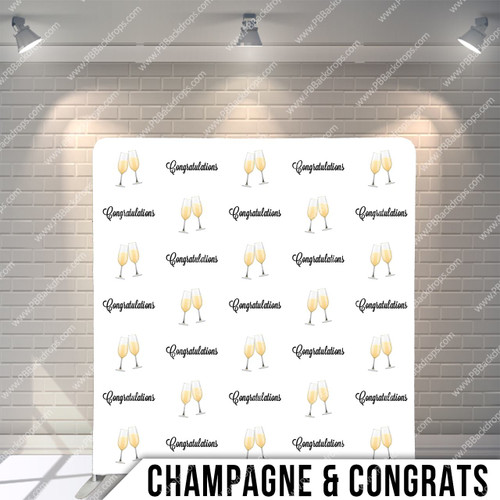 Single-sided Pillow Cover Backdrop  (Champagne and Congrats)