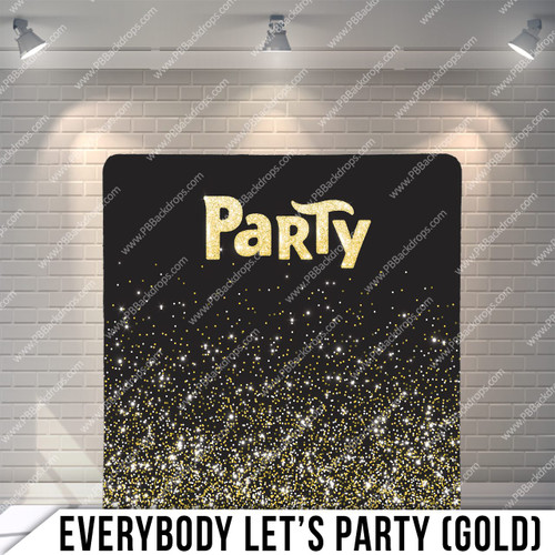 Single-sided Pillow Cover Backdrop  (Everybody Let's Party Gold)