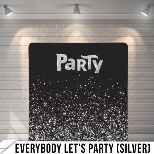 Single-sided Pillow Cover Backdrop  (Everybody Let's Party Silver)
