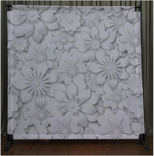 8x8 Printed Tension fabric backdrop - White Flowers | PB Backdrops