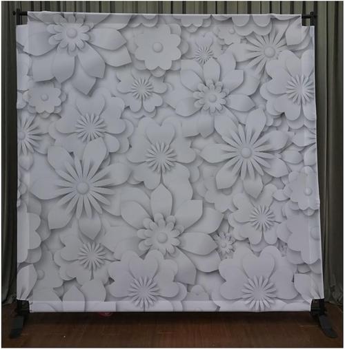 8x8 Printed Tension fabric backdrop - White Flowers   PB Backdrops